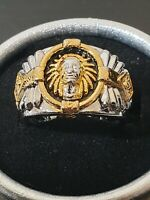 American Indian style silver a yellow gold mystic ring size 10 us