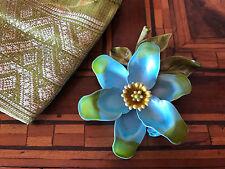 Rare! '60 Sky Blue & Green Flower Brooch Spilla Fiore Azzurro & Verde Vintage