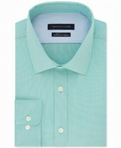 Tommy Hilfiger Mens Dress Shirt Green Size 15 1/2 M Athletic Fit Stretch $79 161