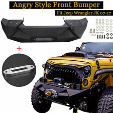 Angry Style Front Bumper with Work Light Brakets Fit Jeep Wrangler JK/JKU 07-17