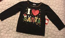 Holiday Time Girls 18M I Heart Santa Christmas Embellished Long Sleeve Shirt