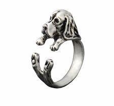 3D Basset Hound Dog Animal Ring Adjustable Silver Finger Wrap Ring Size 5 to 6