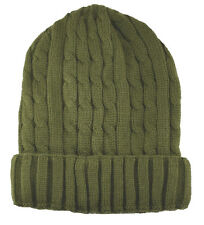 Cuffed Beanie Knit Winter Sweater Hat-olive green(thermal insulation)