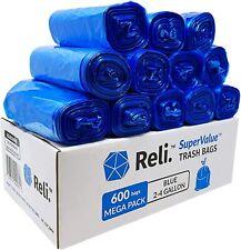 Reli. SuperValue 2-4 Gallon Recycling Bags (600 Count Bulk) Blue Trash Bags