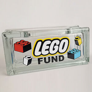 LEGO FUND savings letterbox reusable Glass Money Box bank. Can be personalised!