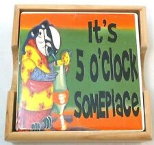It's 5'Oclock Someplace Tile & Cork Coaster Set in Wooden Tray~Beach~Bar~Mancave