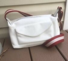 Bally White Leather Crossbody Shoulder Bag Red White Strip Strap 'Tini AADE'