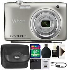 Nikon Coolpix A100 20.1MP Compact Digital Camera Silver with 8GB Top Bundle