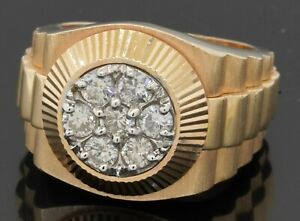 Heavy 14K gold 1.01CTW VS diamond cluster presidential watch motif ring size 9.5