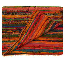 Orange Fair Trade Rag Rug Recycled Hand loom Cotton Braided Runner Yoga Mat 3X5