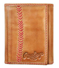 Rawlings Leather Goods Baseball Stitch Leather Trifold Wallet - Brown