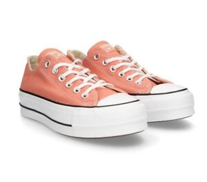 Converse Chuck Taylor All Star Lift Platform Low Top Desert Peach Shoes 563495C