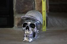 LARGE SILVER METALLIC HUMAN SKULL BEJEWELED STUDDED BASEBALL HAT SUPER RARE!!