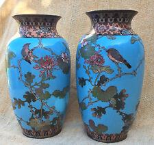 Japanese Antique Pair 19th C Meiji 明治時代  Cloisonné Vases Turquoise Birds Flowers