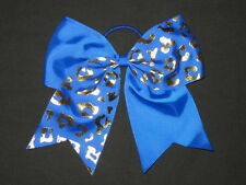 "NEW ""GOLD CHEETAH Royal Blue"" Tick Tock Cheer Bow Pony Ribbon Girls Cheerleading"