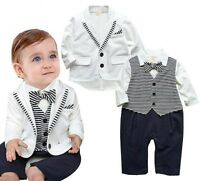 Vestito completo set bambino neonato 0-24 mesi abito da cerimonia nuziale festa
