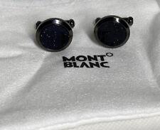 Blue Goldstone Inlay Steel Cufflinks Montblanc Meisterstuck Grey Coloured &