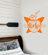Vinyl Wall Decal Aloha Coconut Cocktail Surfing Beach Style Stickers (1472ig)