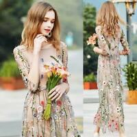 Ladies Embroidered Lace Floral Long Sheer Mesh Maxi Dress Cocktail Evening Party