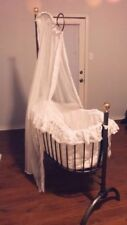 STUNNING!!! 3 piece Victorian Wrought Iron White Royalty Rocking Crib w/ Halo