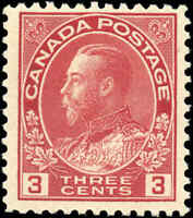 Mint NH Canada F Scott #109 3c 1923 KGV Admiral Stamp