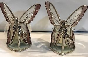 STAINED GLASS 2- Piece Standing Pink Fairies  [9044-E]