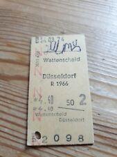 Deutsche Bahn Alte Personenzugkarte von Wattenscheid nach Düsseldorf 1974 R 1966
