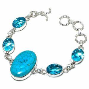 "Santa Rosa Turquoise, Blue Topaz Ethnic Silver Jewelry Bracelet 7-8"" BRJ3181"