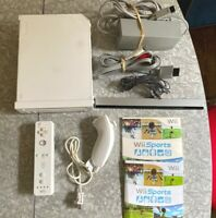 White Nintendo Wii Console w/ Controller & Sports OEM Cords Fast Ship! TESTED