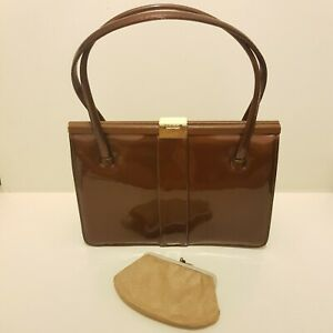 Vintage 40's 50s Brown Leather Patent Clasp Hand Bag Beige Purse Made in England