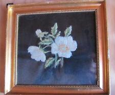Gold Framed finished Crewel Embroidery black background Flowers Denmark Vintage