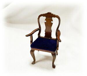 Vtg Queen Anne Dollhouse Miniature 1:12 Blue Velvet Side Arm Wooden Dining Chair