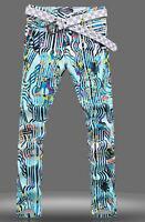 Mens Rivet Floral Printed Night Club Trousers Fashion Stud Long Punk Pants 28-33