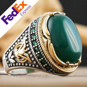 Natural Green Agate Stone 925 Sterling Silver Turkish Handmade Men Ring All Size