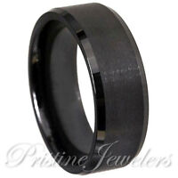 🔥 NEW Black Tungsten Carbide Wedding Band Ring Mens Brushed Center Comfort Fit