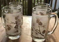 Vintage Beer Mugs Dominion Glass Frosted Gold Trim Pinecones Pattern Set Of 4