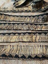 black and gold cotton aztec fringe trimming braid