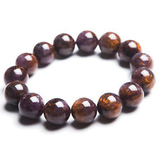 Natural Cacoxenite Rutilated Quartz Crystal Beads Healing Bracelet 15mm Aaa