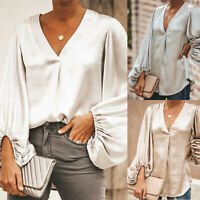 Women's Long Lantern Sleeve V Neck Loose T-Shirt Elegant Tops Blouses Casual Tee