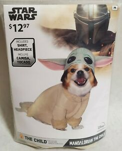 Star Wars Mandalotian THE CHILD Pet Costume Size M  Shirt And Head Piece