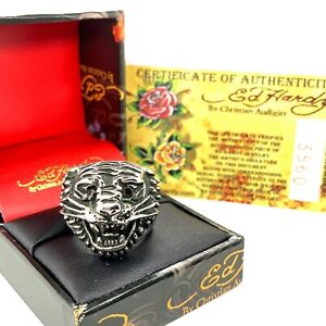 Rare Authentic Ed Hardy Tiger Head Stainless Steel Ring Size 7 With Certificate
