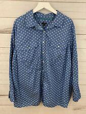 Talbots Women's 3x Blouse Button Down Top Blue White Polka Dot Plus