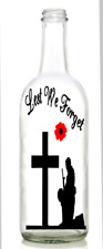 Vinyl Decal Sticker for Wine bottle lest we forget soldier kneeling cross army