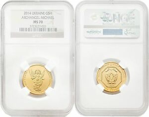 Ukraine 2014 Archangel Michael 5 UAH 1/4 oz Gold NGC MS70