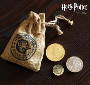 Harry Potter Gringotts Wizard Bank Collection Coins in Pouch Cosplay Kids Gift