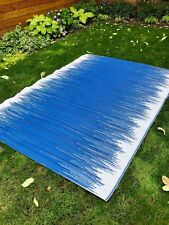 Recycled Plastic Outdoor Rug-  Blue + White 5'10