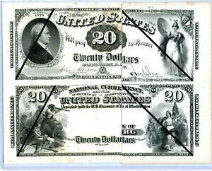 1875 $20 Legal Tender  & 1875 $20 NAT'L CURRENCY OBVERSE PROOF LABAN HEATH RARE