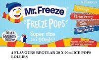 20 x MR FREEZE POPS 4 FLAVOURS REGULAR 90ml ICE POPS LOLLIES SUMMER SPECIAL