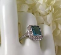 Vintage Jewellery Gold Ring Aquamarine White Sapphires Antique Deco Jewelry sz 6