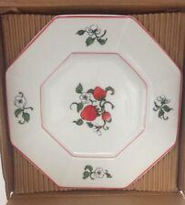 "Set of 4 Fitz & Floyd Octagonal  Fraise De Bois Strawberries 7 3/4"" Salad Plates"